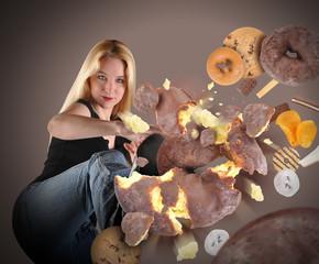 Diet Woman Kicking Junk Food