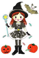 ハロウィン魔法使いの女の子と仲間達
