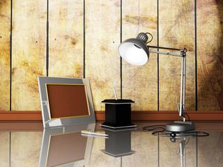 lamp, photoframe, pens