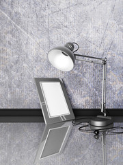 lamp, photoframe, on a table