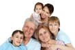 Happy Caucasian family of six
