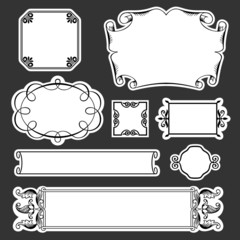 Decorative frames on black background