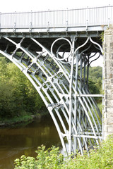 The Iron Bridge over River Severn,showing detailed ironwork