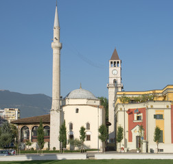 Mosque And Clock Tower In Tirana