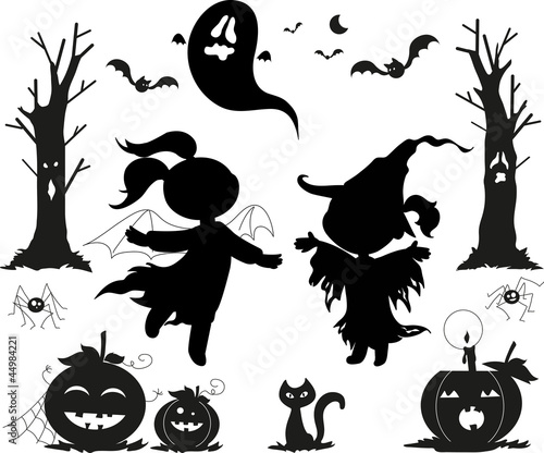 Halloween black icon set.