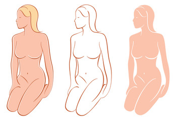 Vector Figure Drawings Isolated. Three Variations.