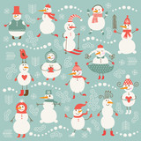 Set of cute snowmans