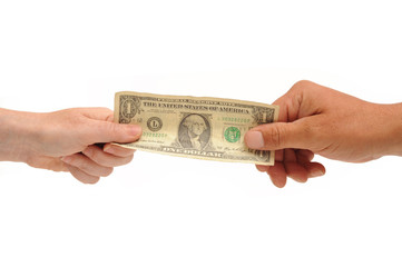 Hands holding U.S. dollar bill