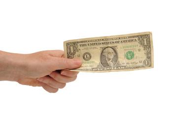 Hand holding U.S. doddalr bill