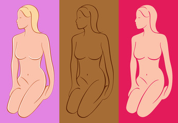 Vector Figure Drawings. Three colored variations.
