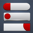 White and red high-detailed modern web buttons.