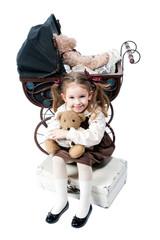 Sweet little girl with teddy bear in retro style
