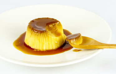 egg custard with caramel sauce