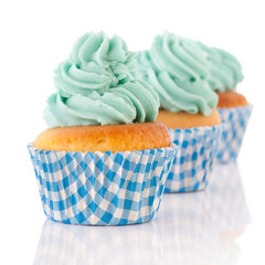 Cupcakes in green and blue