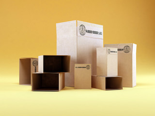 cardboards boxes isolated in studio background