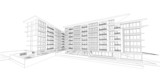 Fototapety Wireframe of building