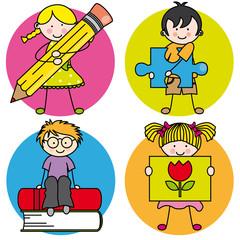 Tarjeta aprender a pintar, escribir, leer, jugar