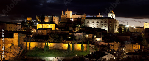 Monumental city of Cáceres of night