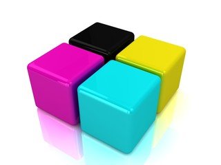 3D cmyk ink cubes isolated on white