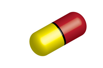 Pill vector - yellow and red