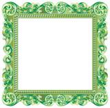 Cadre baroque carré vert