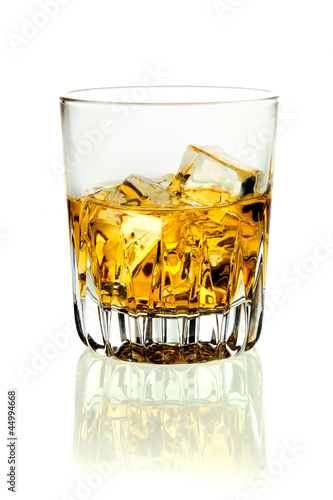 Tumbler of brandy and ice