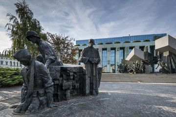 Warsaw Uprising Monument in Warsaw, Poland during summer.