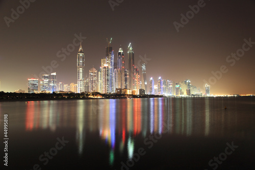 Dubai Marina skyline at night. United Arab Emirates