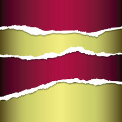 Red and golden tear paper