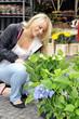 Junge Frau kauft Blumen