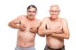 Funny seniors showing body