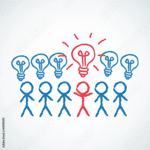 Konzept, Strichmännchen, Idee, Innovation, Kreativität