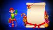 elves sitting on gift box near sing