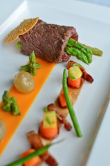 Tomahawk tataki - Seared Tomahawk, marinated vegetables,.bourgui
