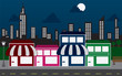 Store front strip mall stores and night city skyline