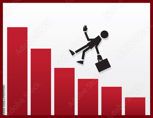 Businessman figure falling from declining bar graph
