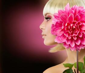 Fashion Blonde Woman with Dahlia Flower