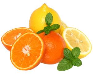 Sliced tangerine and lemon with leaf mint