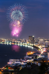 Night view and firework at Pattaya city