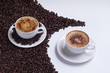 Coffee cups on white background with coffee beans
