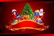 santa girl with tree and santa claus