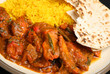Indian Chicken Curry with Rice and Chapatti