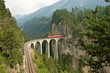 Rhaetian railway in Bergün, Swiss Alps