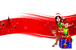 santa girl with red background with elves