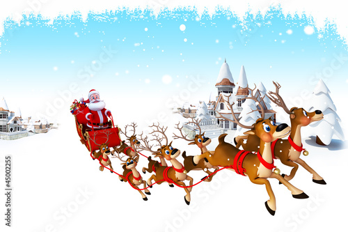 santa with sleigh with buidings