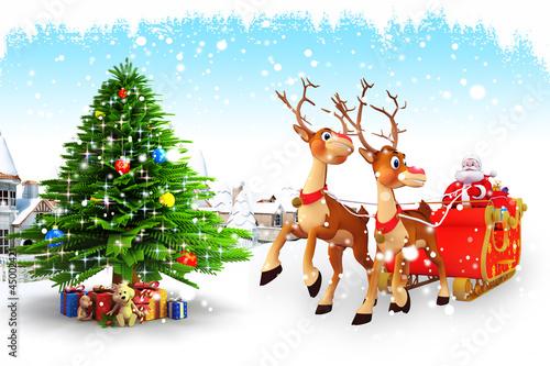 santa with sleigh near a iceland and buildings