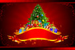 christmas tree on red background with gifts