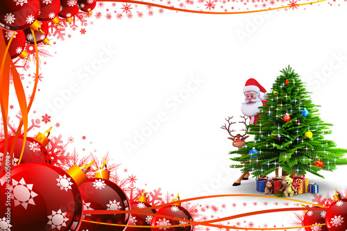 santa claus is hiding behind christmas tree