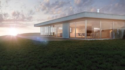 Modernes Flachdach Haus in Hanglage 3D