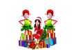 santa girl with elves and gifts isolated on white